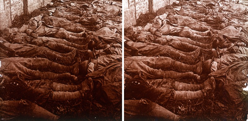A stereo pair depicting a mass pile of bodies during the Great War.