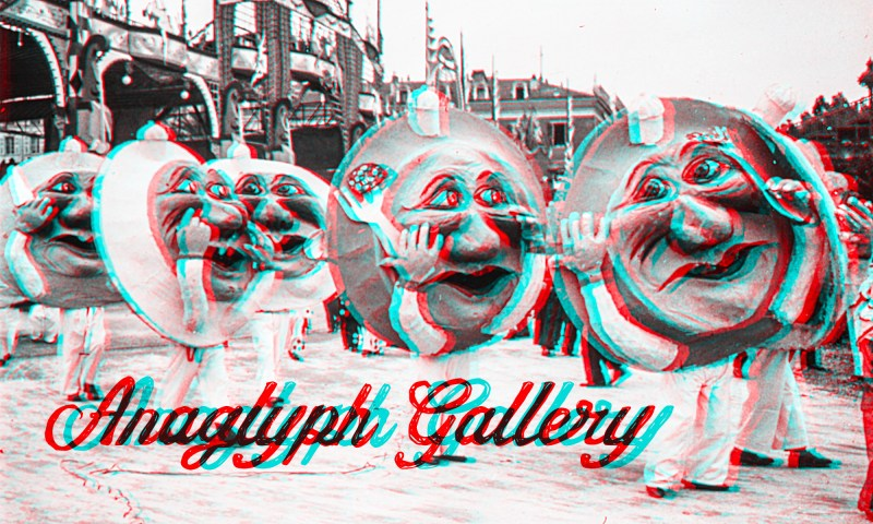 """An image from the """"1933 Carnaval de Nice"""" series that is the header for the Brooklyn Stereography Anaglyph Gallery."""