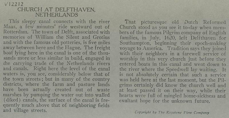 Delfshaven verso text.
