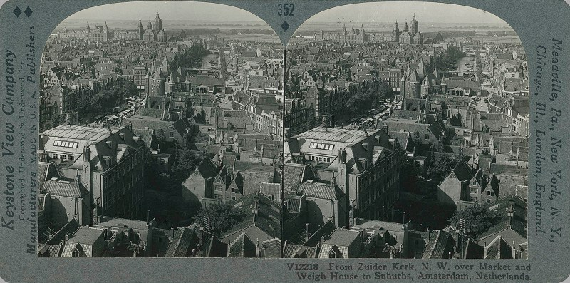 From Zuider Kerk, N.W. over Market and Weigh House to Suburbs, Amsterdam, Netherlands