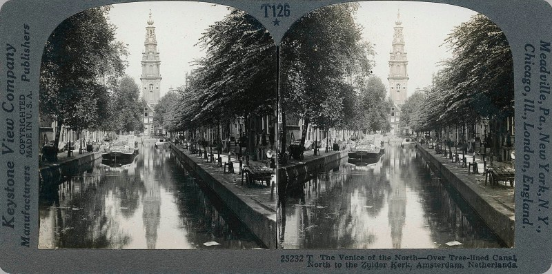 The Venice of the North - Over Tree-lined Canal North to the Zuider Kerk, Amsterdam, Netherlands