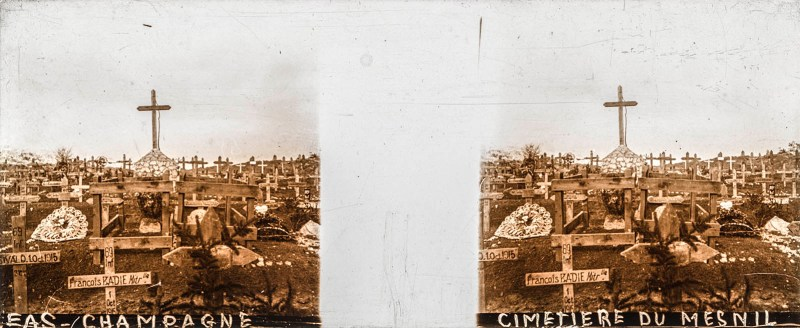 A Brentano's stereoview of a cemetery, featuring a sea of wooden crosses surrounding a large, monumental cross