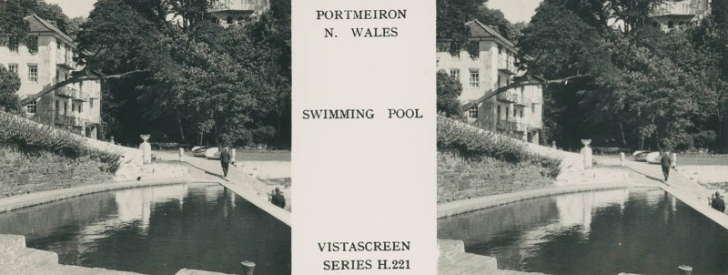VistaScreen's view of the swimming pool in Portmeirion