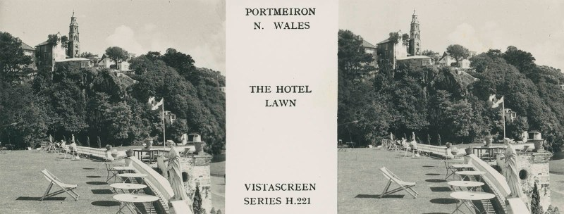 VistaScreen's view of the Hotel Lawn in Portmeirion
