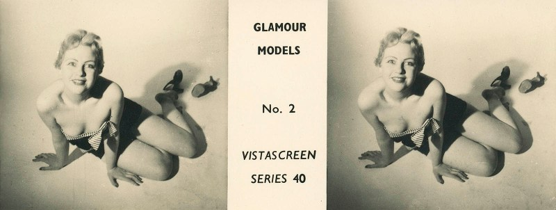 "A pin-up stereoview taken by Stanley Long for VistaScreen Series 40 ""Glamour Models No. 2 - A bevy of British Beauties""."
