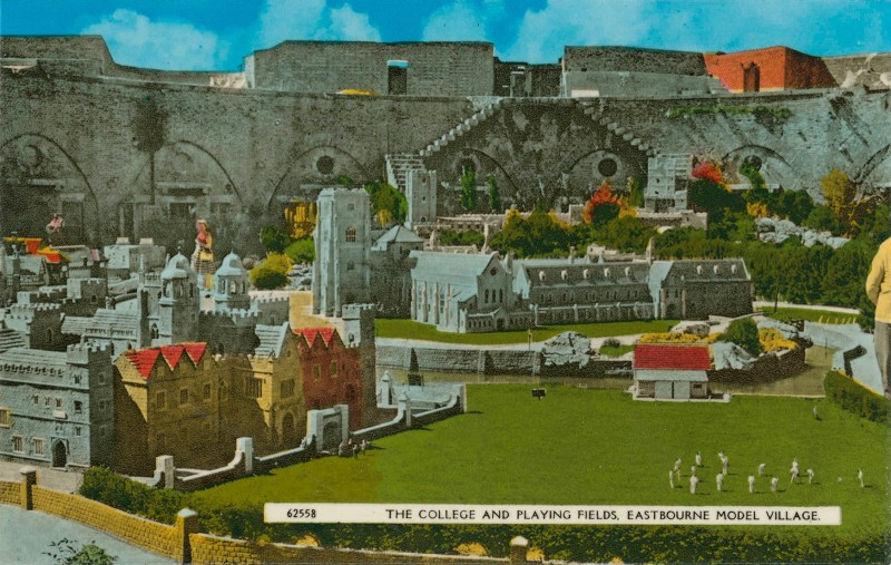 Eastbourne Model Village Postcard with hand colouration