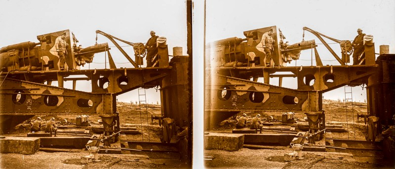 European amateur glass stereoview depicting soldiers posing with a winch