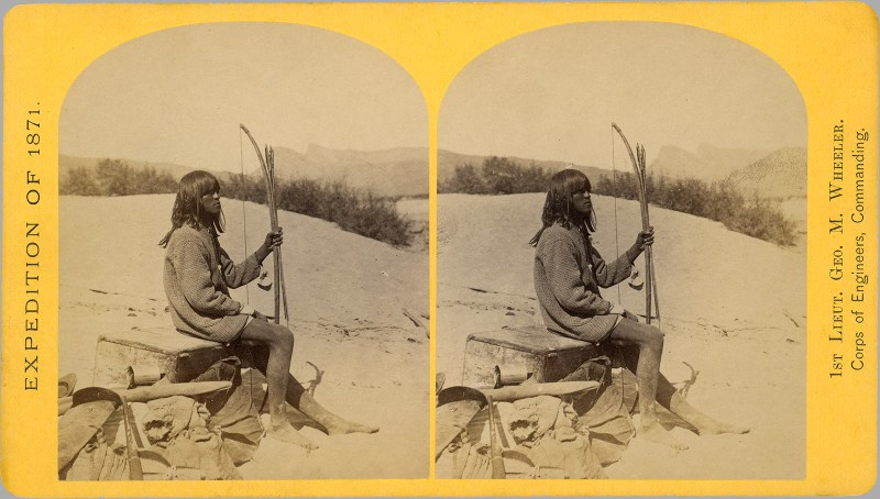 "T. H. O'Sullivan's capture of ""Maiman"", supposedly a ""Mohave Indian"". While various indigenous peoples participated in the ""Apache scouts"", the Mohave were not among them."