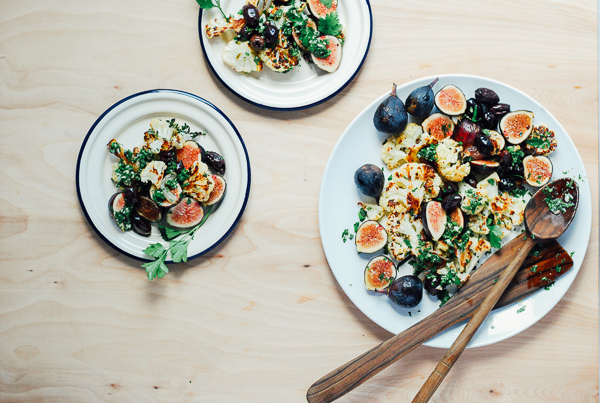 roasted cauliflower with figs and olives // brooklyn supper