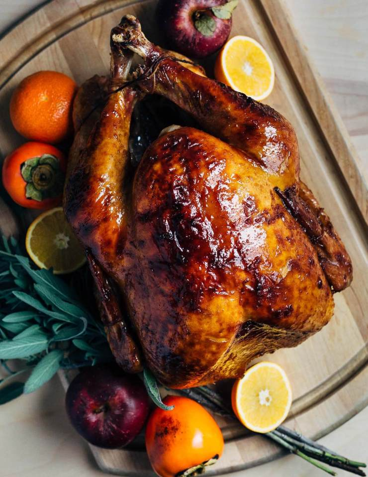 A maple-bourbon glazed turkey recipe with notes of smoky bourbon and caramel in every bite.