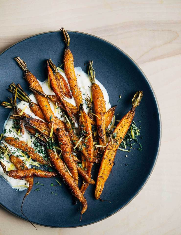 An autumnal recipe for roasted carrot salad with cracked pepper and cumin crème fraîche.