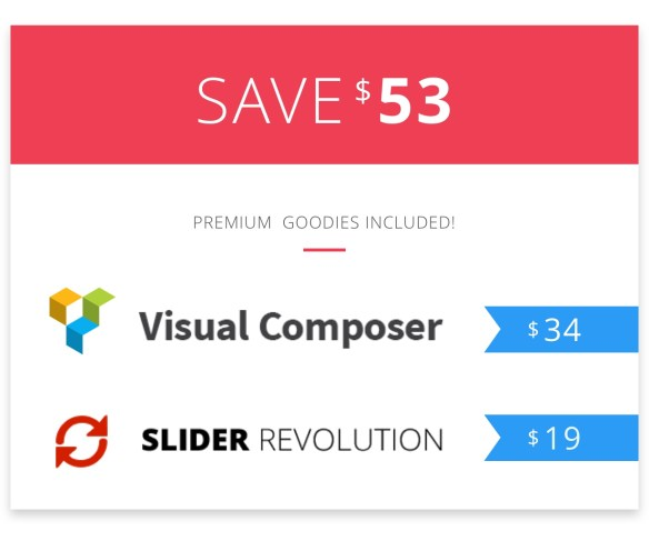 Premium plugins included: visual composer and slider revolution.