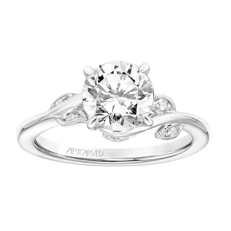 Leaf Design Diamond Engagement Ring Brooks Diamonds