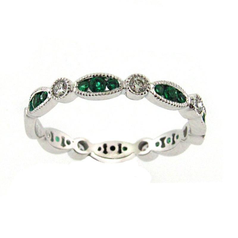 Emerald Amp Diamond Stackable Ring Brooks Diamonds