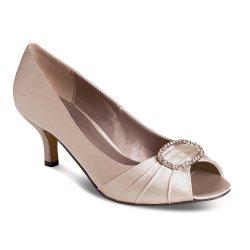 a3d1842d7ef Traditional Lunar Rochelle Taupe Satin Kitten Heel Dress Shoes Lunar ...
