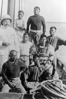 Crew aboard a lugger