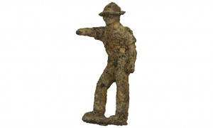 Toy tin soldier recovered from the Dutch flying wrecks