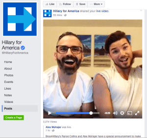 Bros4Hillary Political Director Alex Mohajer and Co-founder Rance Collins streaming live from Hillary for America's Facebook page during their first BrosCast Live! on Saturday 10/22/16.