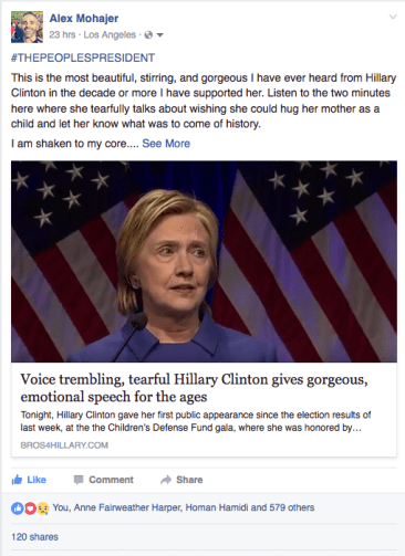 Article posted to B4H Political Director's Facebook wall simultaneously going viral.
