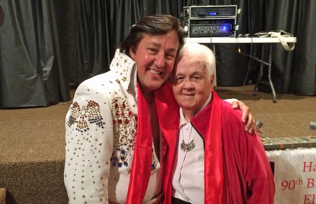 Elvis impersonator Chuck Baril with 90-year-old Elvis East