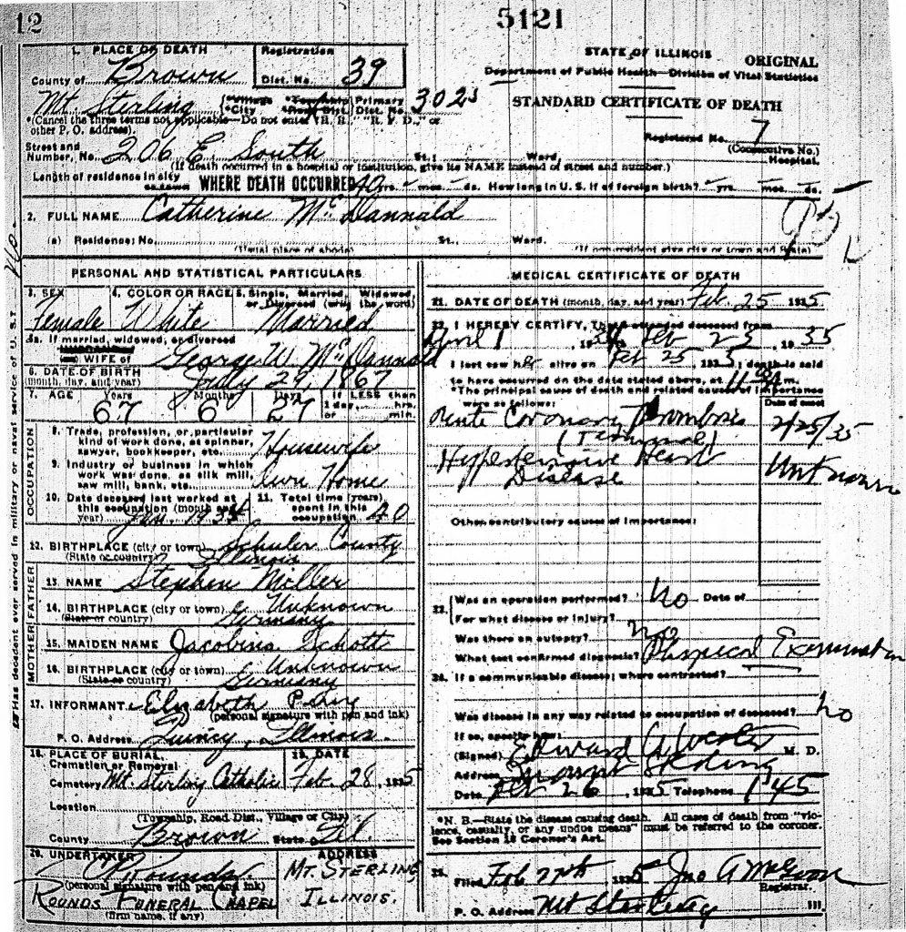 Catherine Miller Death Certificate
