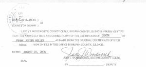 Frank Joseph Miller Death Certificate p. 2