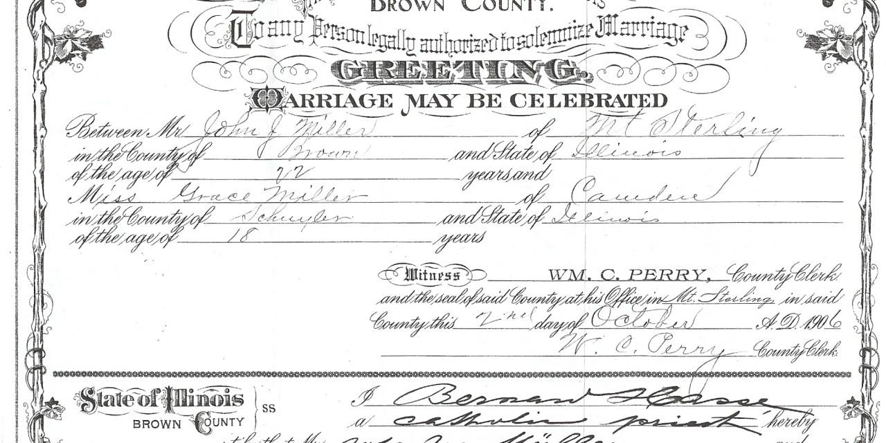 Marriage License of John Joseph Miller and Grace Miller