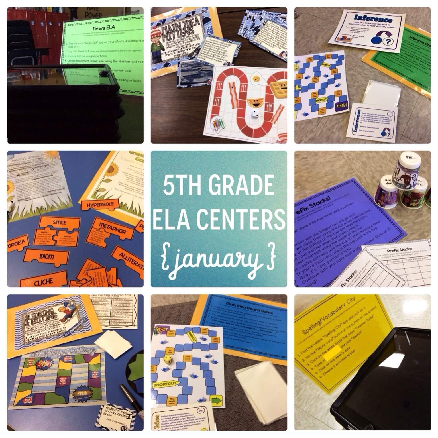 January 5th Grade Reading Centers