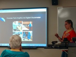 Kaelyn presenting her glucose study