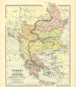 Map of Turkey in Europe, Greece, Roumania, Servia, Montenegro & Bulgaria, The Chambers Encyclopaedia, Vol. 10, 1908