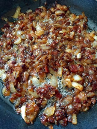 Onions with the bacon jerky added for the last few minutes