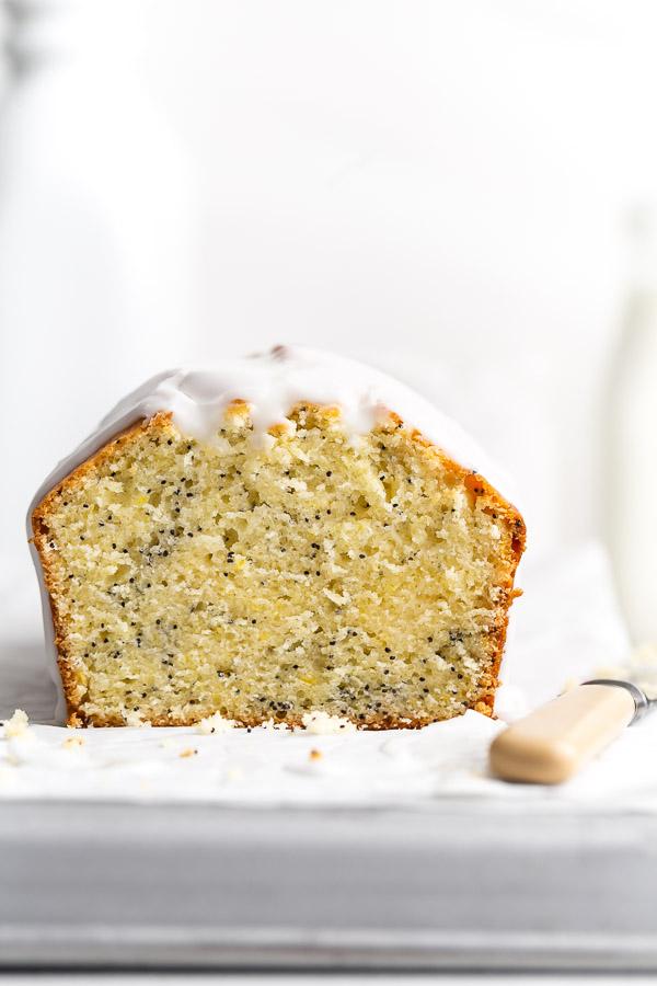close-up of lemon poppy seed cake