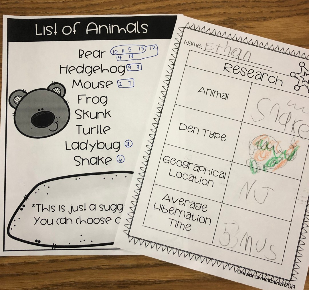 A piece of paper with a list of animals that hibernate. A second piece of paper with research about an animals type of den, geographical location, and average hibernation time.