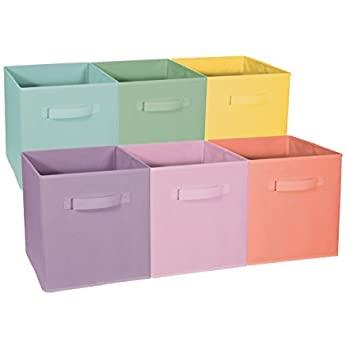 Colorful fabric storage bins