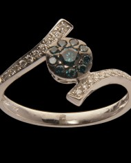 Blue Diamond Cluster Ring 0.32CT-0