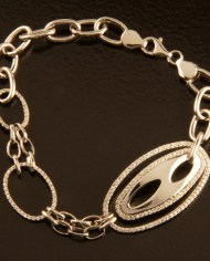 Sterling Silver Double Oval Micro-Pave Bracelet-0