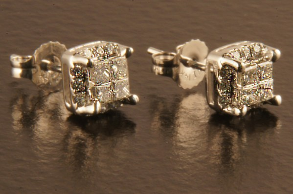 Diamond Studs Princess Composite Set 0.50 ctw 14K White Gold-0