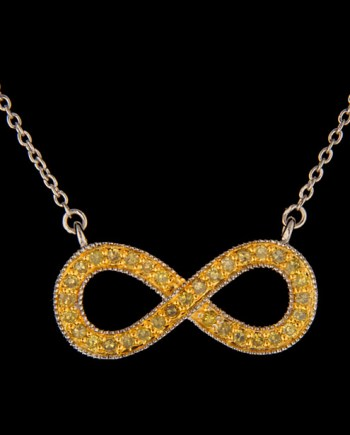 Sterling Silver Yellow Diamond Infinity Pendant-0