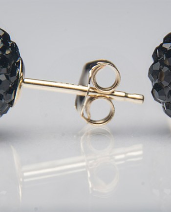 Black Crystal Ball Post Earrings 14K Yellow Gold-0