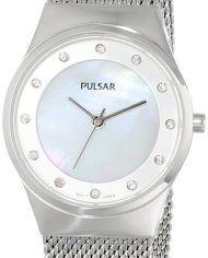 Pulsar Woman's Watch with Mesh Band and Crystal Accents-0