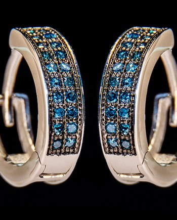 Blue Diamond 0.20ctw Hoop Earrings in Sterling Silver-0