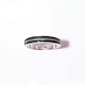 Blue and White Diamond 0.27ctw Three Row Ring in Sterling Silver
