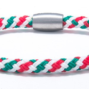 Stainless Steel and Rubber Italian Flag Bracelet-0