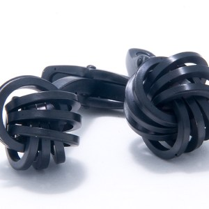 Black Stainless Steel Steel Love Knots Cufflinks-0