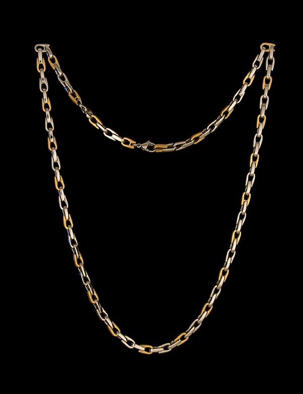 """Men's Stainless Steel Necklace Three Links Polished One Brushed 24""""-0"""