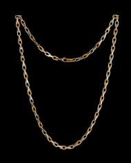 Men's Stainless Steel Necklace Three Links Polished One Brushed 24″-0