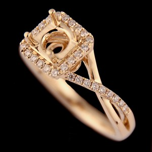 Diamond Engagement Ring Semi-Mount - Halo Twist with 0.26 ctw in 14K Yellow Gold-0