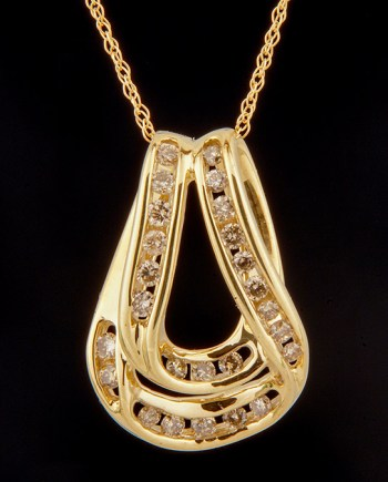 Diamond 0.50ctw Double Swirl Pendant in 10K Yellow Gold-0