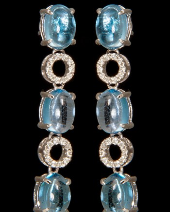 Blue Topaz and Diamond Earrings in 14K White Gold-0