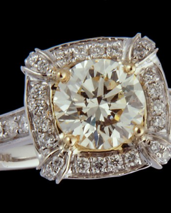 Diamond Engagement Ring 1.19ctw VS2 Main Stone in 0.52ctw Semi-Mount in 18K Two Tone Gold-0